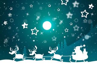 Santa Reindeer Indicates Merry Christmas And Elk