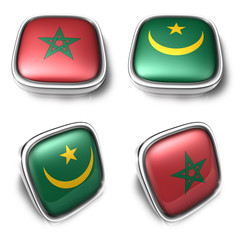 Morocco and Mauritania 3d metalic square flag button. 3D Icon De