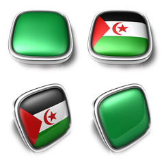 Libya and Western Sahara  3d metalic square flag button. 3D Icon