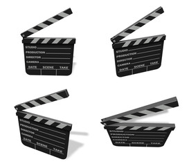 3d cinema slate range four set . 3D Icon Design Series.
