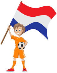 Soccer fan holds Holland flag. Vector cartoon