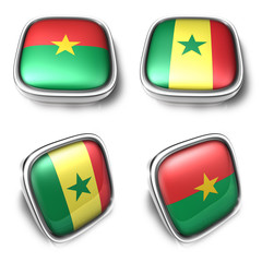 Burkina Faso and Senegal 3d metalic square flag button. 3D Icon