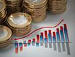 Financial concept.  Euro coins on graph.