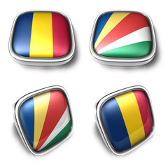 Chad and Seychelles 3d metalic square flag button. 3D Icon Desig