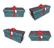 3D star pattern rectangular gift box set. 3D Icon Design Series.