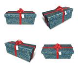 3D star pattern rectangular gift box set. 3D Icon Design Series.