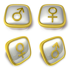 Man and Woman 3d metalic square Symbol button. 3D Icon Design Se