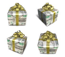 3D Dollar pattern with gift box set in a square. 3D Icon Design