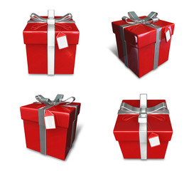 3D red color gift box set in a square. 3D Icon Design Series.