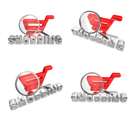 3D cart with a magnifying glass icon. 3D Icon Design Series.
