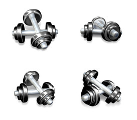 3D Icon dumbbells and barbells. 3D Icon Design Series.