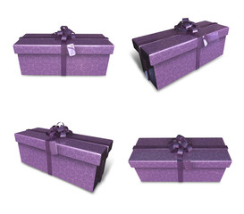 3D purple rectangular gift box set. 3D Icon Design Series.