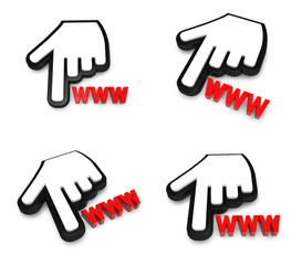 3D hand cursor and the WWW icon. 3D Icon Design Series.
