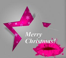 Xmas Lips Indicates Merry Christmas And Celebration