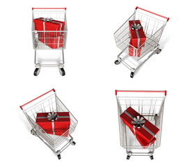 Rectangular gift box with 3D shopping cart icon. 3D Icon Design