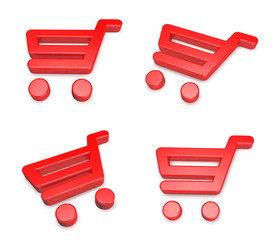 3D shopping cart icon. 3D Icon Design Series.