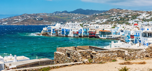 Panoramic view of Little Venice on Mykonos Island