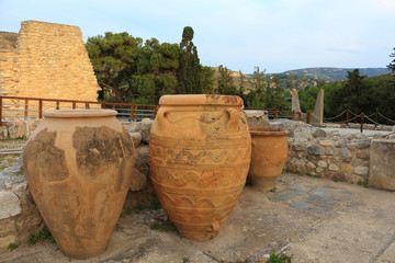 Large ancient ceramic menoan urns at Knossos palace Crete