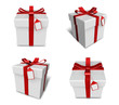 3D white gift box set in a square. 3D Icon Design Series.