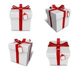 3D white gift box set in a square. 3D Icon Design Series.