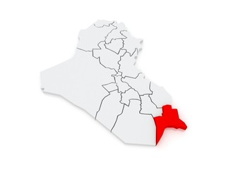 Map of Basra. Iraq.