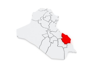 Map of Maysan. Iraq.