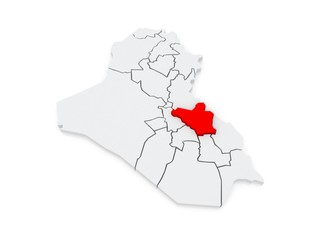 Map of Wasit. Iraq.