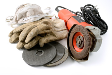 Grinder with protective mask and gloves
