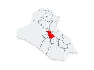Map of Babil. Iraq.