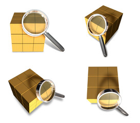 3D Delivery box with the magnifying glass icon. 3D Icon Design S