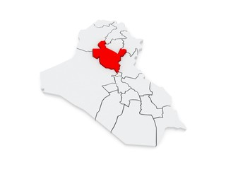Map of Salah al-Din. Iraq.