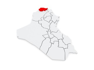 Map of Dohuk. Iraq.
