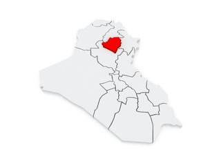 Map of Kirkuk. Iraq.