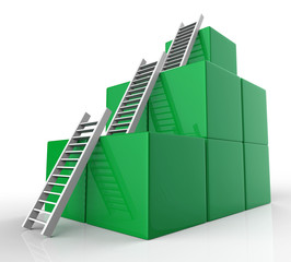Growth Ladders Represents Victorious Victory And Rise