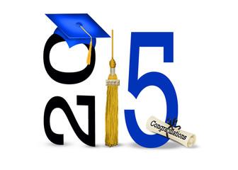 blue graduation cap for class of 2015