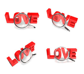 3D LOVE and magnifying glass icon. 3D Icon Design Series.