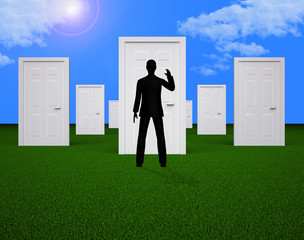 Doors Choice Shows Man Doorways And Direction