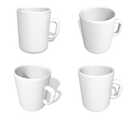 3D White coffee cup icon. 3D Icon Design Series.