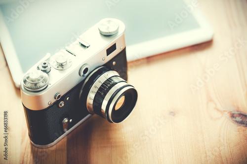 Leinwanddruck Bild Old vintage camera