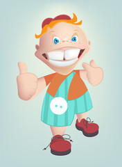The child shows healthy teeth. Vector cartoon