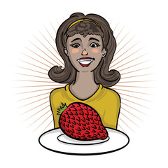 Happy girl holding plate with an exotic fruit -snakefruit