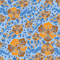 Colorfull abstract flower pattern with leaves