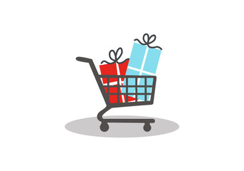 shopping cart gift vector