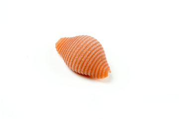 Uncooked Italian conchiglie pasta on a white background
