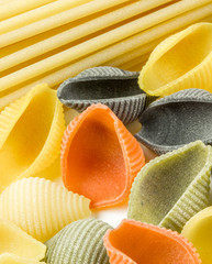 Closeup shoot of different types of pasta