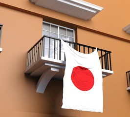 Balcony with Japanese flag