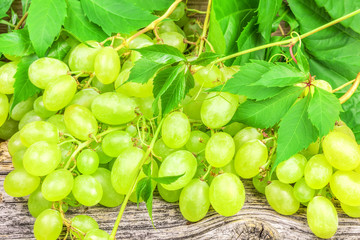 Green grapes with leaves on a wooden board