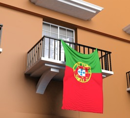 Balcony with Portuguese flag