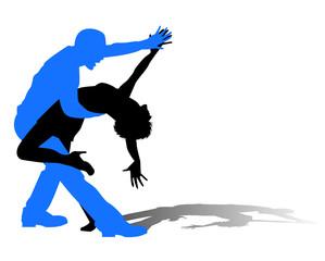 silhouette di ballerini latini