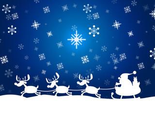 Reindeer Santa Shows Winter Snow And Congratulation